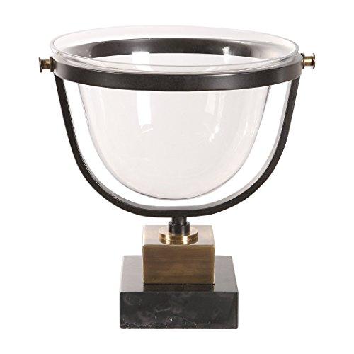 My Swanky Home Classic Brass Bronze Glass Decorative Centerpiece Bowl | Black Marble ()