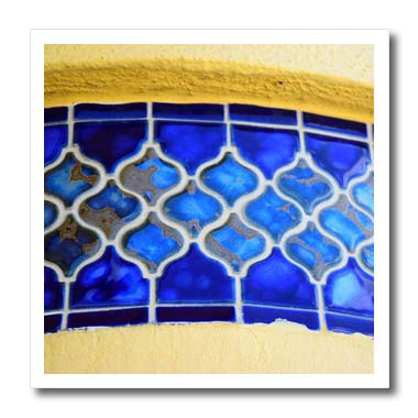 3dRose Lens Art by Florene - Interesting Objects - Image of Blue Band of Morrocan Tiles On Florida Building - 6x6 Iron on Heat Transfer for White Material (ht_317058_2) ()