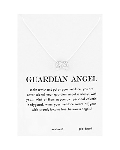 CYBERNY Women's Make a Wish Guardian Angel Wings Necklace Silver-plated