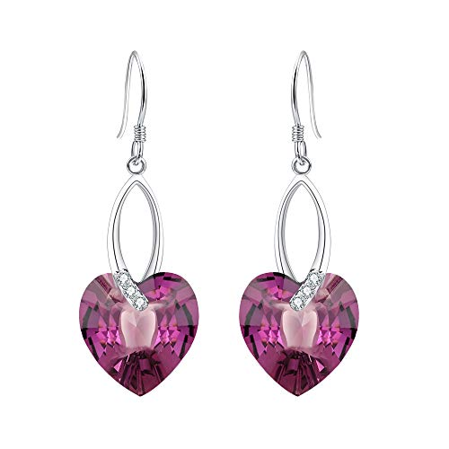 (EleQueen 925 Sterling Silver CZ Love Heart French Hook Dangle Earrings Amethyst Color Made with Swarovski Crystals )