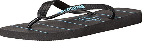 - Havaianas Men's Top Stripes Logo Sandal Black/Black/Blue Sandal 39/40 (US Men's 8) M