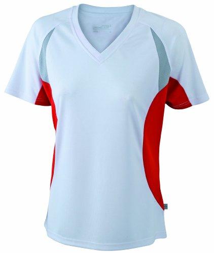 con Blanco cuello para transpirable pico de Camiseta rojo mujer ZdnwxZ