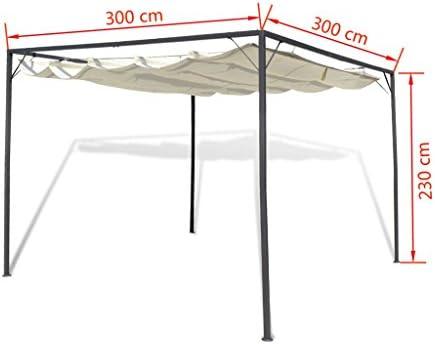 Tidyard Carpa de Jardín Techo Retráctil Cenador para Patio Tienda para Camping Fiesta Celebraciones Evento al Aire Libre Boda Fiest Barbacoa Acero 3x3x2,3m: Amazon.es: Hogar