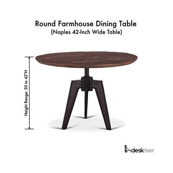 Round Farmhouse Dining Table   Naples 42-Inch Dining Table Adjustable Height with Reclaimed Wood and Iron Cast Base…