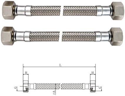 Bene Flexible sanitaire en Acier inoxydable 304 Longueur 300 mm pour 2 pi/èces DN8 1//2 Femelle x1//2 Femelle pour leau potable avec mise en DVGW et KTW
