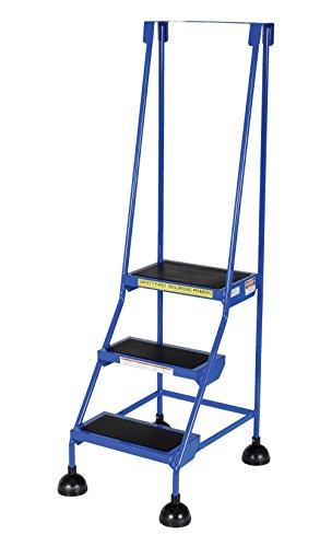 Vestil LAD-3-B Steel Spring Loaded Roll Ladder, 16'' Wide x 11'' Depth, 300 lb. Capacity, 3 Rubber Steps, Blue by Vestil (Image #1)