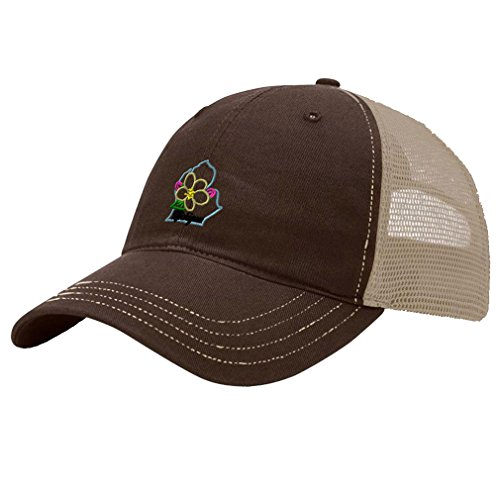 Speedy Pros Michigan State Flower Embroidery Richardson Front and Mesh Back Cap Hat - Brown/Khaki