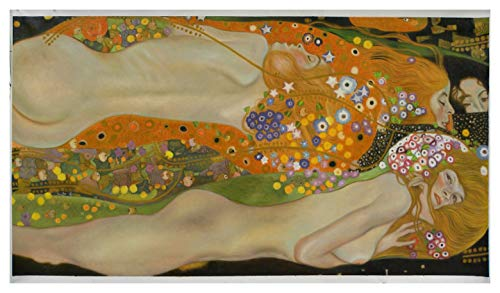 (Water Serpents II -Gustav Klimt hand-painted oil painting,nude girls with flower hair,Water Snakes,Sea Serpents,sensual women in water art)