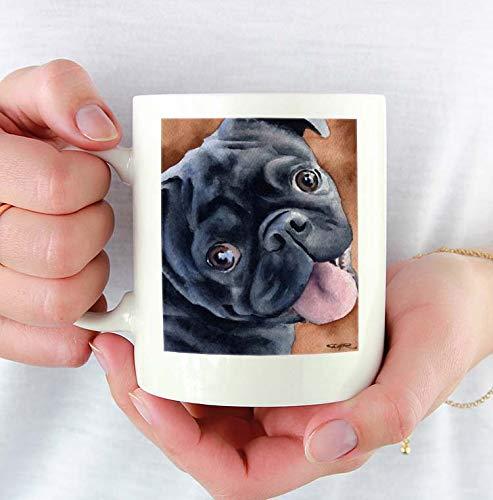 - Black Pug Custom 11oz Mug With Dog Art Featuring Watercolor Painting by Artist DJ Rogers