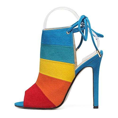 da arcobaleno donna Sandali tacco Colore SASA Sandali con Colore spillo nuove con pesce 5 tacco da abbinato EU36 donna alto per UK3 Scarpe scarpe estive a 7XIXqpv