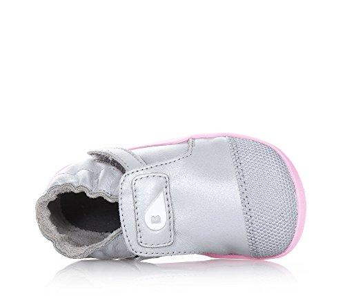 BOBUX - Chaussure argentée en cuir et tissu, extrêmement flexible, qui permet une croissance sans restriction, réalisée avec teintures et matériaux non-toxiques, Fille, Filles