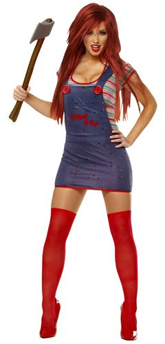 Chucky Costumes For Adults (Costume Culture Women's Licensed Sexy Chucky Costume, Blue, Small)