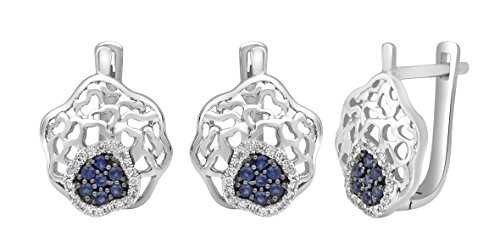 Jewel Ivy 14K White Gold Earring with Sapphire and Diamond Fine Jewelry, Best For Gifting Wife, Girlfriend, Friend, Rare Item !! by Jewel Ivy