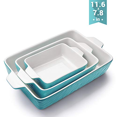 (Bakeware Set, Krokori Rectangular Baking Pan Ceramic Glaze Baking Dish for Cooking, Kitchen, Cake Dinner, Banquet and Daily Use, 11.6 x 7.8 Inches of Aquamarine, 3 Pack of Rectangular)