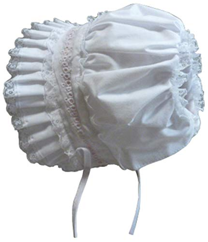 N'Ice Caps Baby Girls Lacy Bonnet with Flowers Embroidery (White, 6 Months) ()