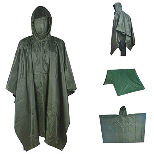 A-MORE Waterproof Raincoat Rain Poncho Lightweight Ripstop Hooded Picnic MatRain Fly Backpack Cover (Green), ()