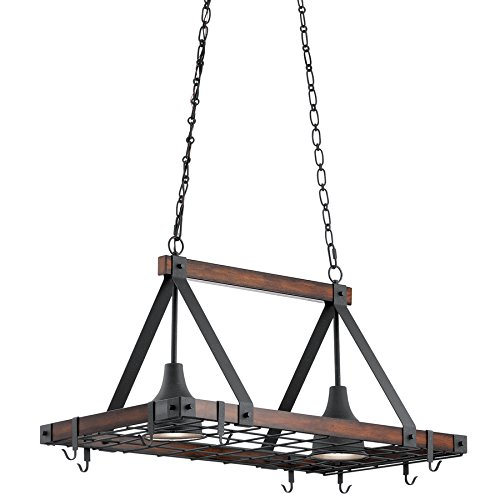 Kichler Barrington 20.3-in W 2-Light Distressed Black and Wood Lighted Pot Rack ()