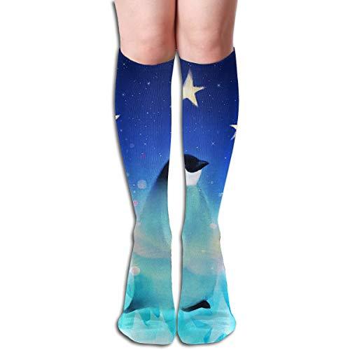 (Tube Knee High Socks 50CM Penguin Fantasy Star Night Men's Over-The-Calf Tube Sports Socks Extra Long Compression)
