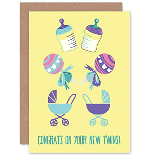 Congratulations Twins - Wee Blue Coo Card Greeting New Baby Twins Congratulations CP2208