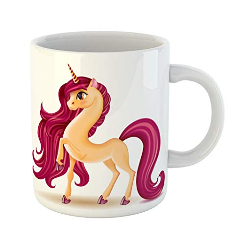 Emvency 11 Ounces Coffee Mug 3D Pony Unicorn Character Big Eyes on Long Hair Mane Tail Striped Horn Fantasy Animal Realistic Cartoon Personage Childrens White Ceramic Glossy Tea Cup gift ()