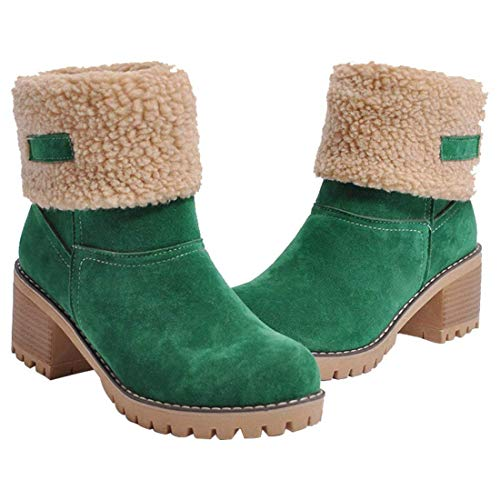 Daim D'hiver Neige En Vert Cheville Chaussures Bottes Femmes Talon Court Bottines Goupsky Bloc Extrieur De Doubl Faux Chaud Pour Mi Fourrure 78w1px