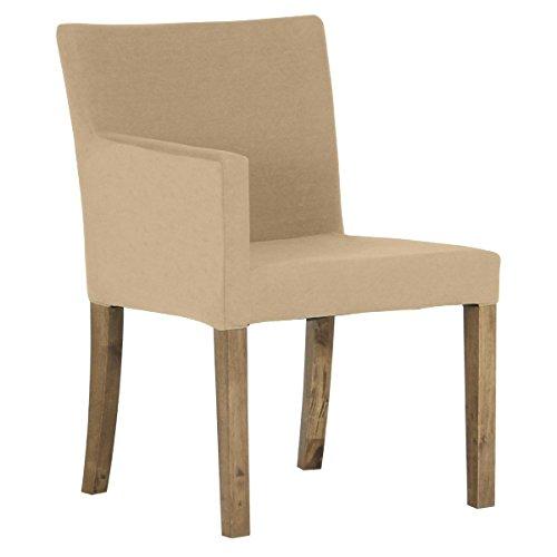 arne ダイニングチェア 北欧 木製 椅子 チェアー 背もたれ 日本製 JOY 【Sサイズ】【右肘タイプ】【ブラウン脚】 モダン ベージュ B074359HY4 Sサイズ/右肘タイプ|ベージュ ベージュ Sサイズ/右肘タイプ