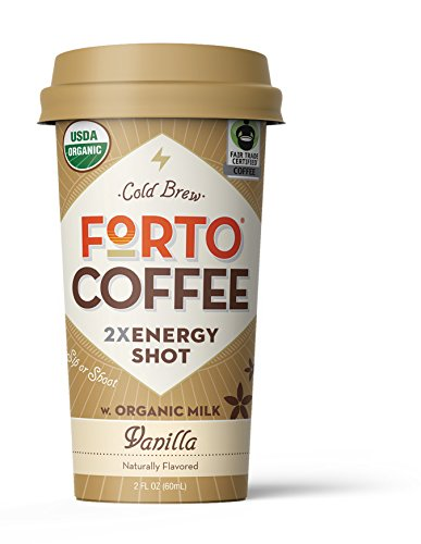 FORTO Coffee Shot - 200mg Caffeine, Vanilla Latte, Natural Energy Shot Made From Organic Cold Brew, High Caffeine - Strong Coffee, Ready to Drink 2 ounce Bottled Double Shots