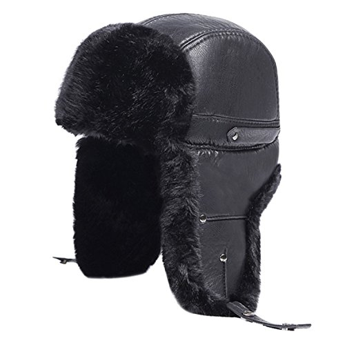Winter Hats Trooper Trapper Hat with Ear Flap Chin Strap Flap Hats Skiing Cap for Men