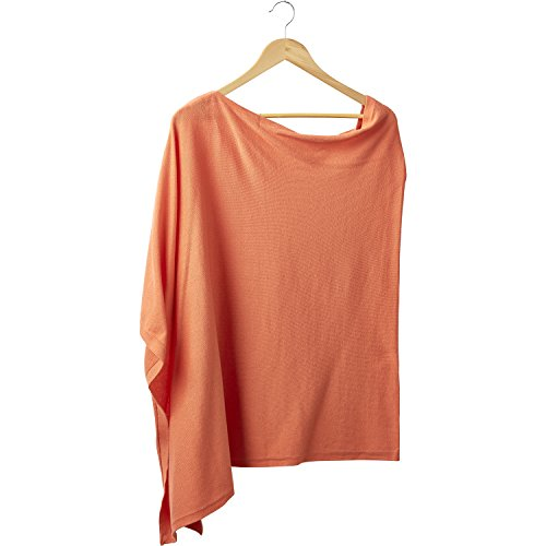 (Tickled Pink Women's Elegent Solid Cotton Poncho, -orange, ONE SIZE FITS MOST)