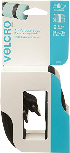 (VELCRO Brand All-Purpose Straps | Strong & Reusable | Perfect for Fastening Wires & Organizing Cords | Black, 36in x 1in | 2 Count)