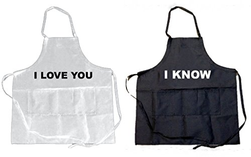 Funny Guy Mugs (Pack of 2) I Love You and I Know Aprons, Black/White by Funny Guy Mugs