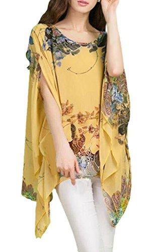 Bikini 3 Blouse Cover Boheme Haut 4 Chemise Floral Kimono Bain Manche Mousseline Caftan de Up Top en Plage Chauve de Souris Mode Tunique Hippie Imprimee de Femme Soie 06 Maillots Multicolore Cache Chic Beachwear w4TOSqxT