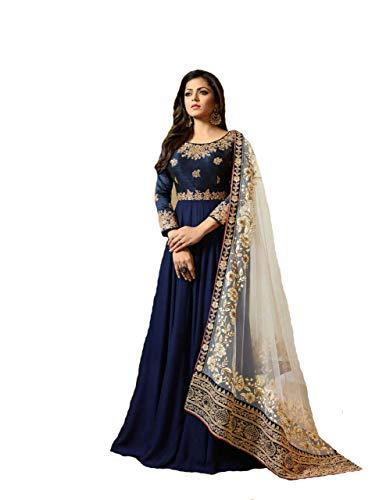 (New Desiner Indian/Pakistani Ethnic wear Georgette Anarkali Gown LT (Blue, X-SMALL-36))