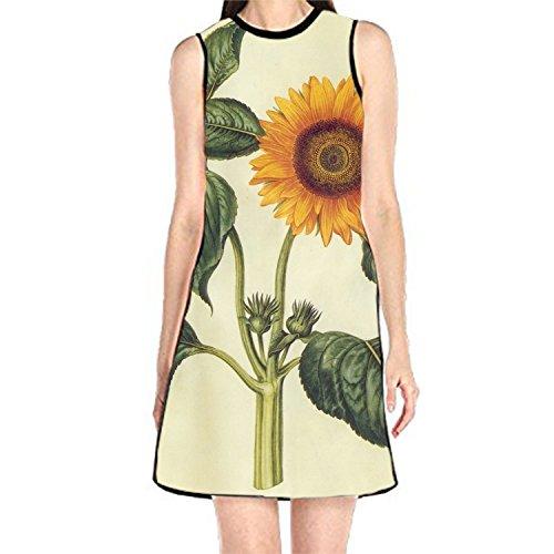 Bobosell Bande Rose Sans Manches Sundress Réservoir Femmes Impression T-shirt Robe De Sunflowers7