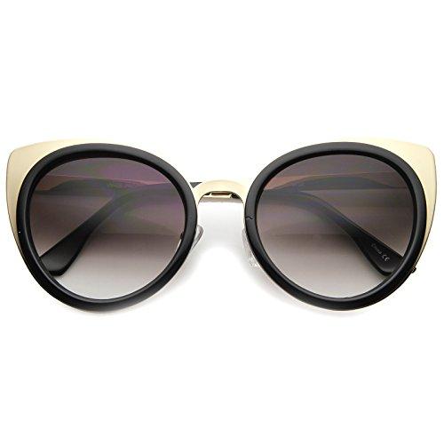 Shiny Black Womens Sunglasses (zeroUV - Elegant Round High Pointed Metal Corner Cat Eye Sunglasses 54mm (Shiny Black-Gold / Lavender))