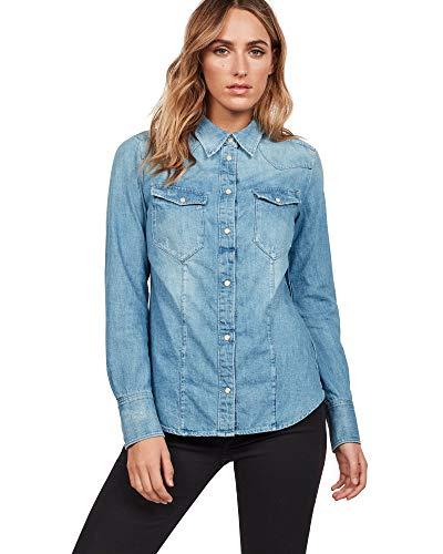 Raw Para Destroy G star 3142 Shirt Tacoma medium Azul Blusa Aged Straight Mujer gxqwHSW5qY