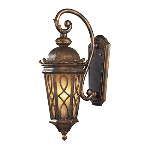 Alumbrada Collection Burlington Junction 2 Light Outdoor Wall Sconce In Hazlenut Bronze And Amber Scavo Glass