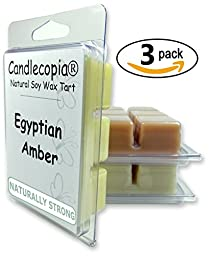 Candlecopia Sweet Patchouli, Indian Sandalwood & Egyptian Amber Scented Soy Wax Cubes for Electric Tart Warmer, 3 Pack