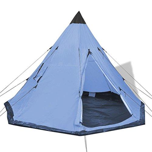🥇 vidaXL–Camping Senderismo Tienda de campaña 2Windows Impermeable Viaje Familiar Color Azul/Verde/Amarillo
