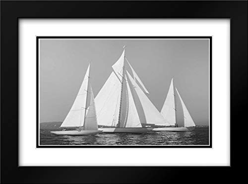 Sailing Together 40x28 Black Modern Frame and Double Matted Art Print by Ortega, Xavier