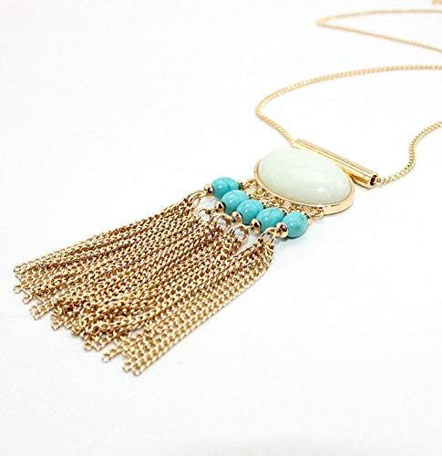 (Gold Plated Turquoise Bead Stone Tassels Pendant Necklace XL1610)