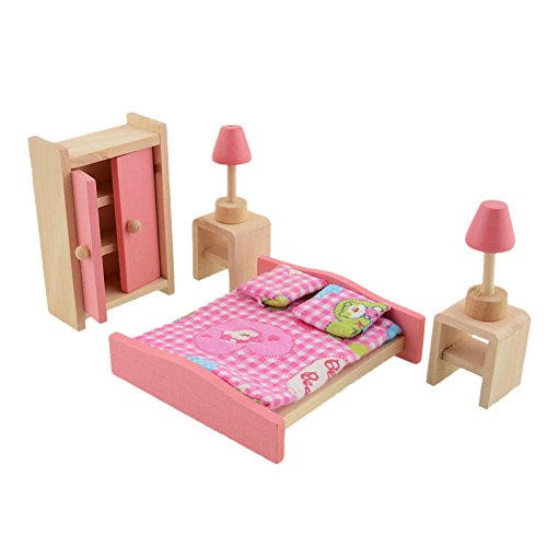 Vktech� Wooden Dollhouse Funiture Kids Child Room Set Play Toy (Bedroom)