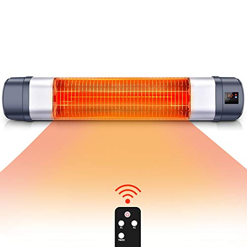 Patio Heater - 1500W Infrared Red Tube Space Heater w/Remote