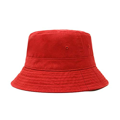 Cotton Bucket Hat | Packable Summer Travel Hat | Fishing Hat | 7 Colors (Red1) -