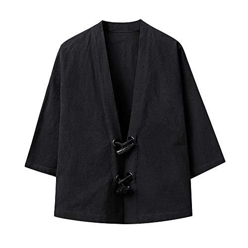 QBQCBB Men Japanese Yukata Casual Coat Kimono Outwear Cotton Loose 3/4 Sleeve Top ()