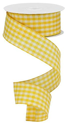 Flannel Ivory Ribbon - Primitive Gingham Check Wired Edge Ribbon, 10 Yards (Mustard, Ivory, 1.5