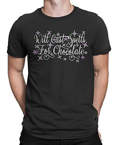 Tenacitee Men's Will Cast Spells for Chocolate Crew Neck T-Shirt, 2X-Large, Black]()