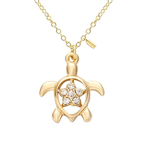 Gold Honu Turtle (MANZHEN Gold Turtle Honu with Crystal Plumeria Necklace Pendant with 16