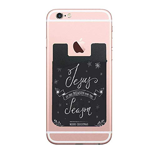 (CardlyPhCardH Unique Christmas Vintage Chalk Text Label on Blackboard with Jesus is The Reason of Season Message Authentic Cell PhoneCard Holder Stick on Wallet Pouch for Apple iPhone 2 PCS)