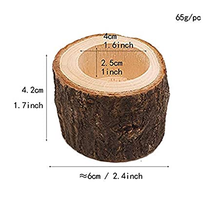 Cratone Tea Light Candle Holders Tree Stump Candle Stand Succulent Planter Candlesticks for Wedding Party Home 1Piece High